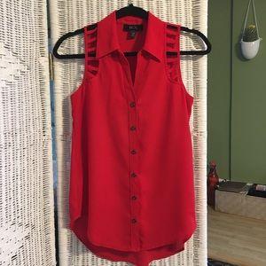 BCX Sleeveless Red Blouse